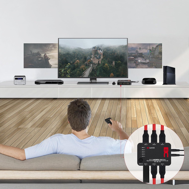 BC Master HDMI Switch 4K X 2K 3D 5 Entradas X 1 Salida Conmutador ...
