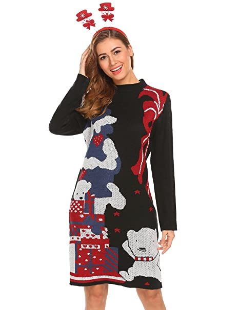 Women Christmas Sweater Dress.Dethler Women Christmas Sweater Ugly Cowl Neck Cute Bear