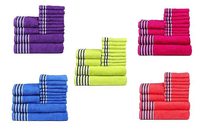Trident Tiras 400 g/m², Juego de 12 toallas de algodón (baño, mano y cara), Neón Rojo: Amazon.es: Hogar