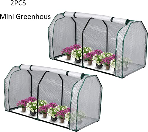 LYNSLIM 2pcs Mini Greenhouse, 48 x24x 21.6 ,PE Cover,Large Zipper Doors,Indoor Outdoor Garden Green House Flowerpot Cover