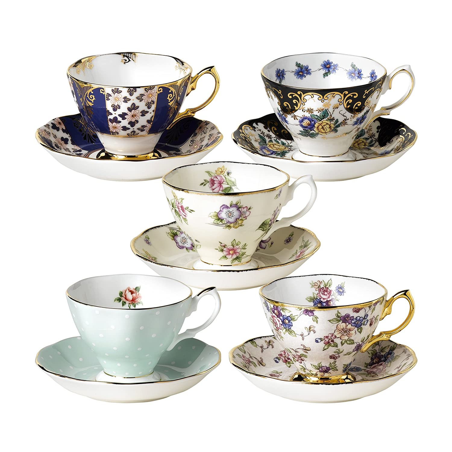 amazoncom  royal albert  years of royal albert teacups and  - amazoncom  royal albert  years of royal albert teacups and saucers set of  teacup with saucer cup  saucer sets