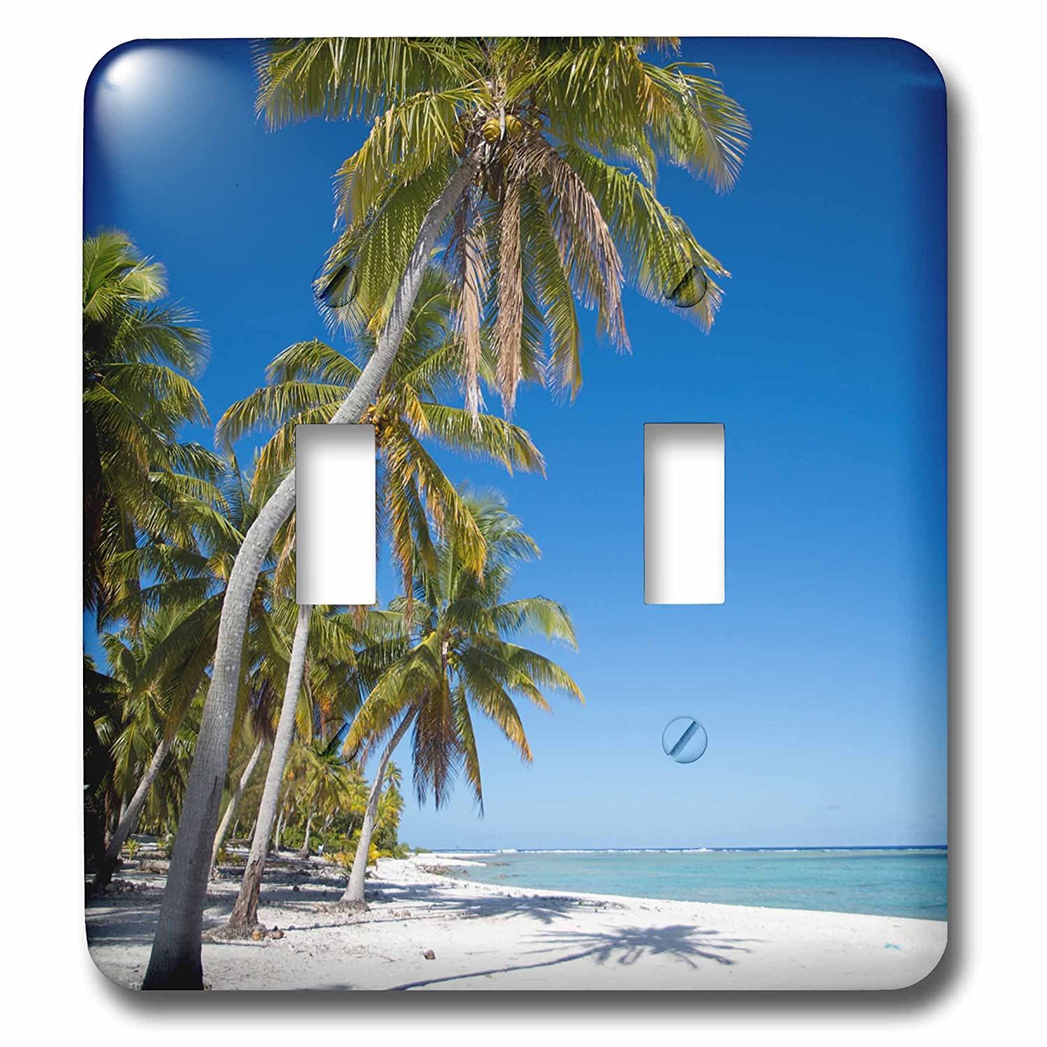 3D Rose LSP/_228568/_2 Cook Islands Palm Trees and White Sand Beach Double Toggle Switch