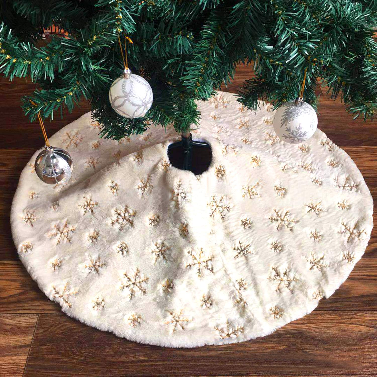 48 inches Snowflake White Luxury Faux Fur Tree Skirt for Christmas Ornaments Decorations Gold Snowflake Lorfancy Christmas Tree Skirt