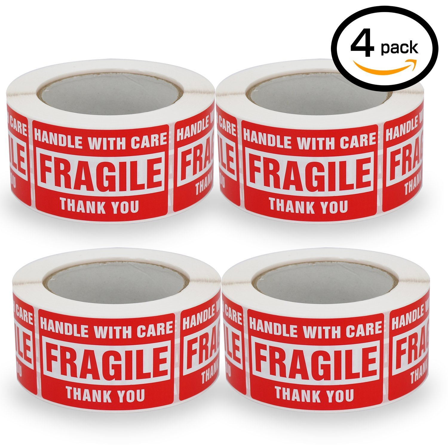4 Rolls/2000 Labels,Handle With Care–Fragile–Thank You, Red Warning Shipping Label Stickers (2'' x 3'')