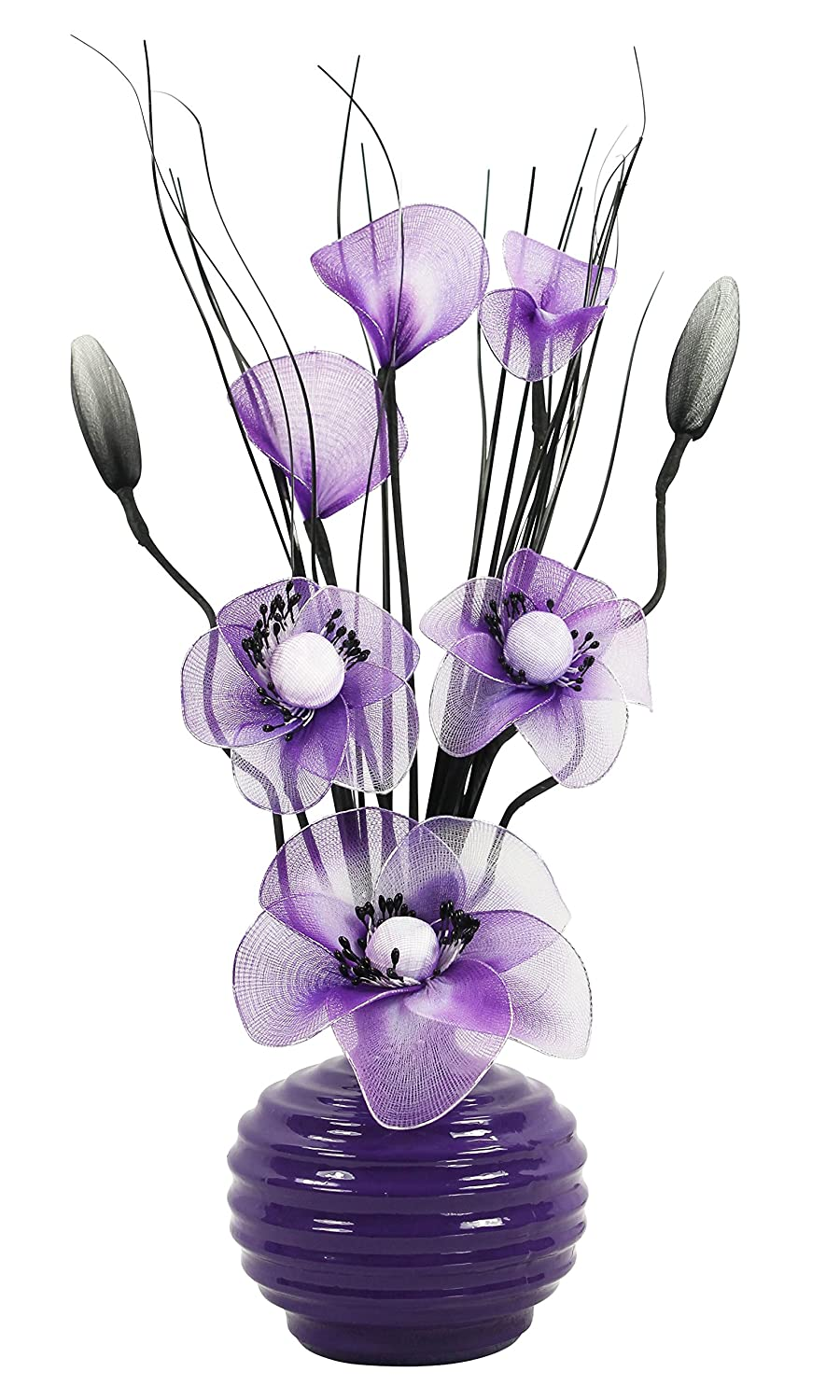 Purple Vase with Purple and White Artificial Flowers, Ornaments for Living Room, Window Sill, Home Accessories, 32cm Flourish 723217