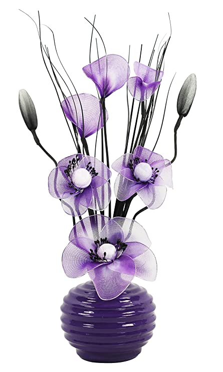 Purple Vase With Purple And White Artificial Flowers Ornaments For