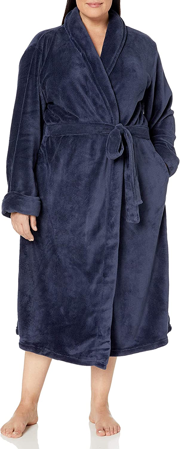 Casual Moments Womens Plus Size 50 Set in Belt Wrap Robe