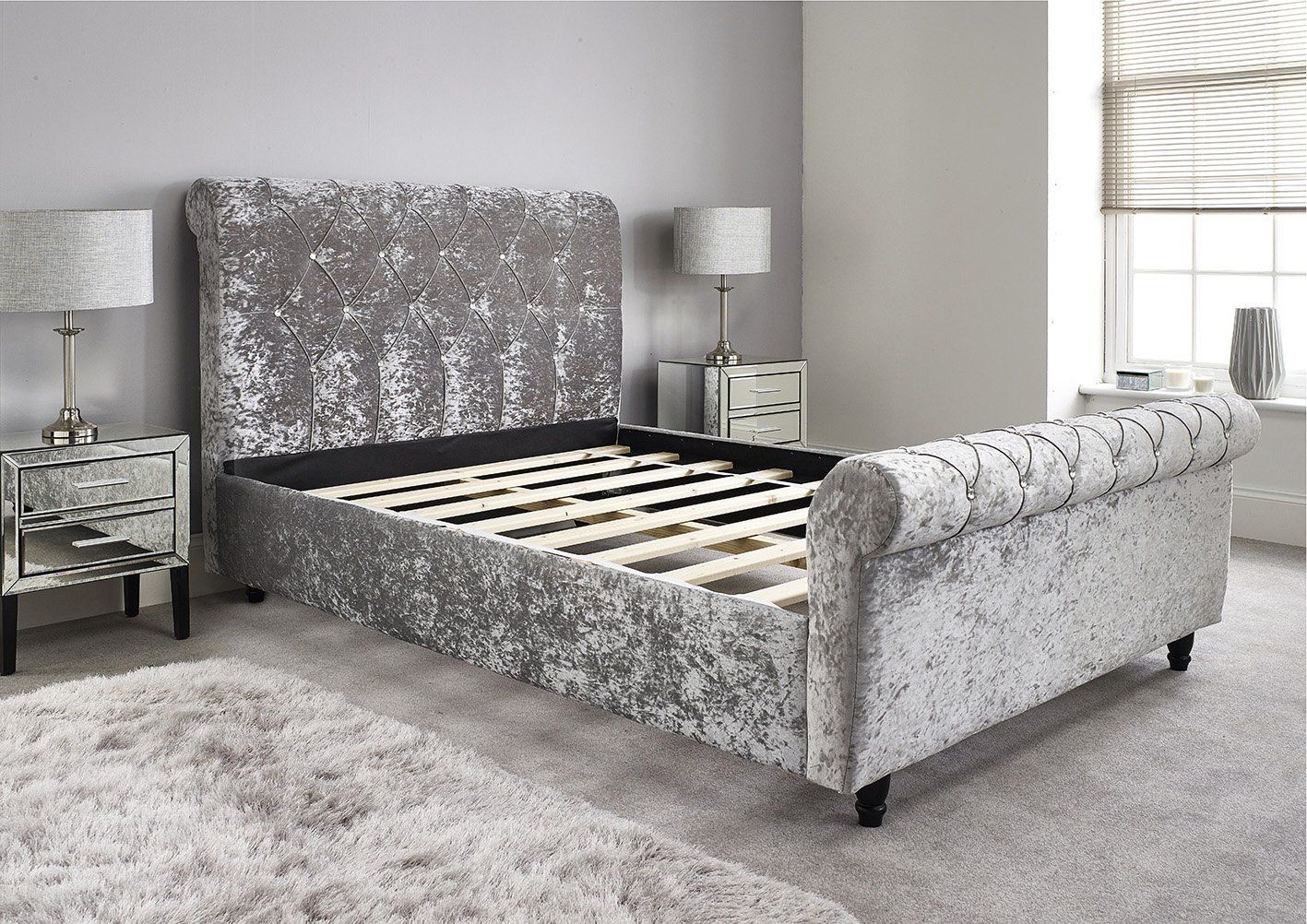 - Bed Centre Chesterfield Silver Velvet Sleigh Bed Frame With
