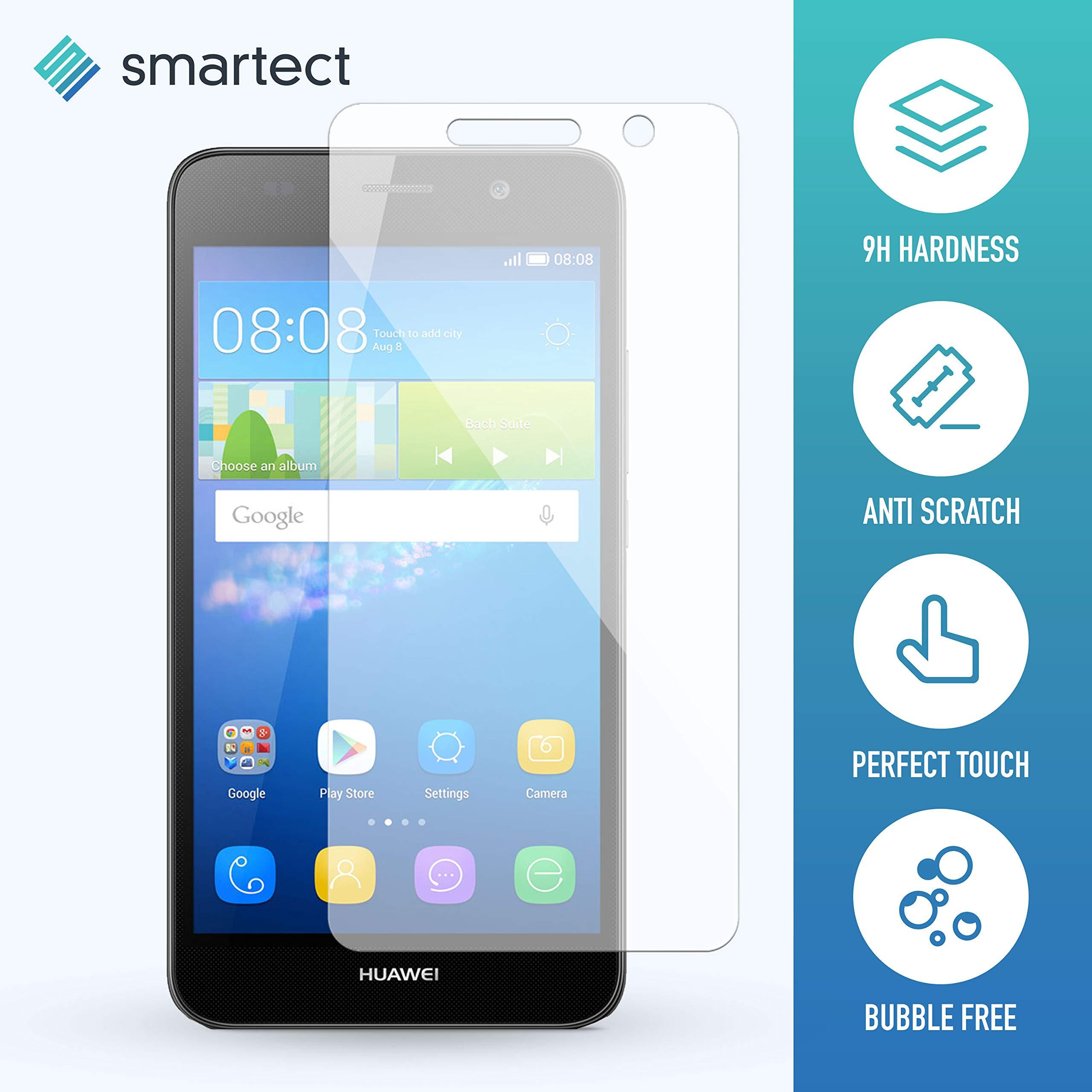 SmarTect 2X Protection d'Écran en Verre Trempé pour Huawei Y6 de Film Protecteur Ultra-Fin DE 0,3mm | Vitre Robuste avec 9H de Dureté et Revêtement Anti-Traces de Doigts