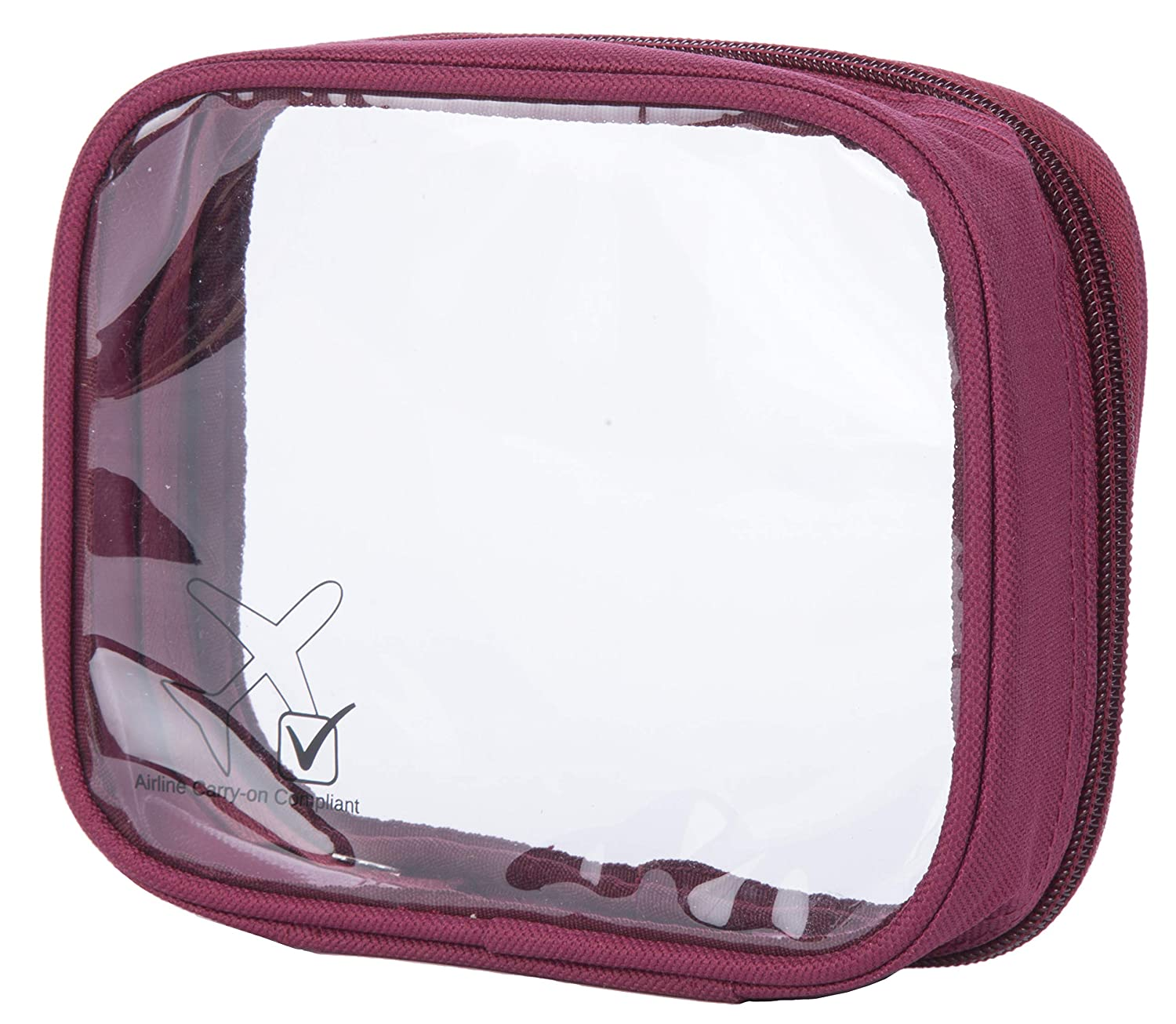 ShoutJump TSA Approved Clear Durable Toiletry Bag for Domestic/International Travel | Quart Size for 3-1-1 Compliant Toiletries/Cosmetics/Accessories in Carry-On Luggage (1-pc, Burgundy)