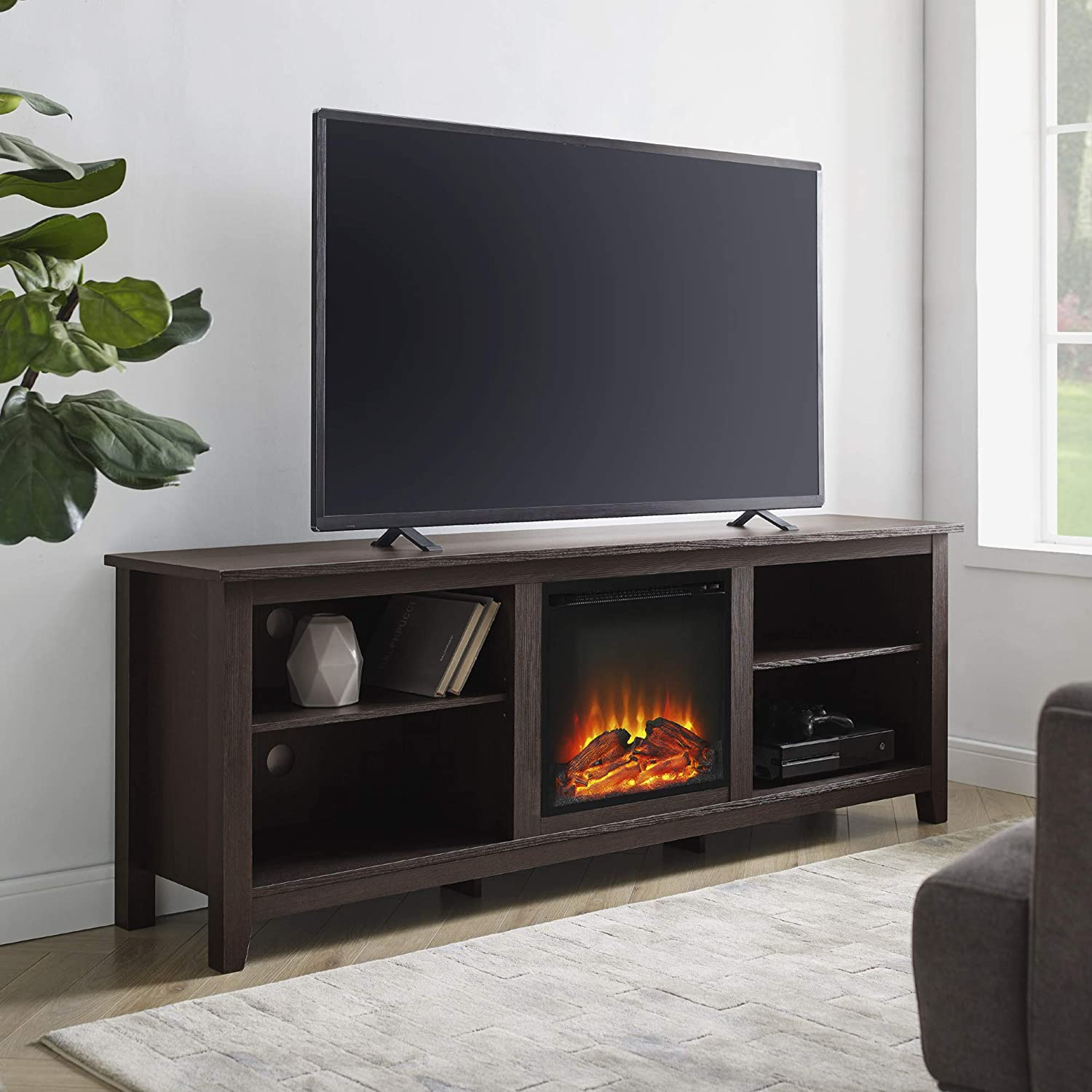 We Furniture 70 Espresso Wood Fireplace Modern Tv Stand Console For Flat Screen Tv S Up To 75 Entertainment Center Amazon Ca Home Kitchen