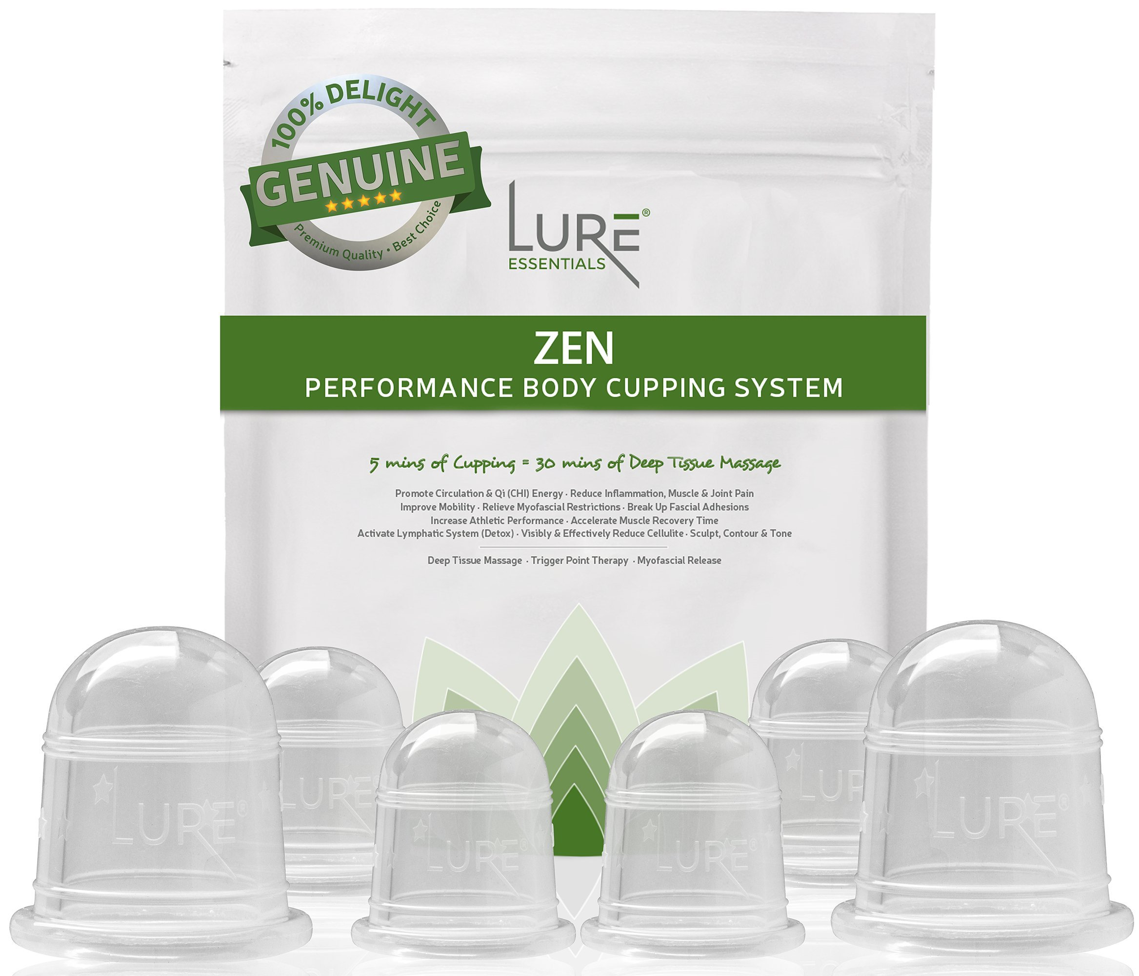 Zen Cupping Therapy Set 6 Massage Cups for Cellulite, Fascia and Natural Pain Relief with Professional e-BOOK - Results Driven - Home and Experienced Bodywork Use with Oil or Body Wash