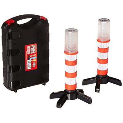 Red LED Emergency Roadside Flares - Magnetic Base and Upright Stand - These Magnatek Red LED Beacons May Save Your Life - Our Road Flares Come with Batteries and Solid Storage case.: Automotive