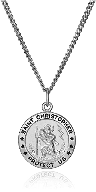 dd2b194402ae4 Sterling Silver Round Saint Christopher Medal with Stainless Steel Chain,  20