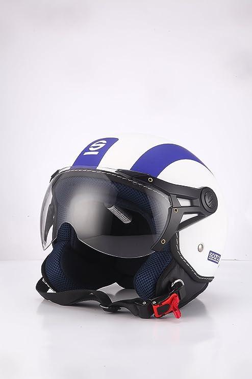 Amazon.es: Sparco Riders - Casco de Moto Demi Jet Medium Bianco/BLU Opaco