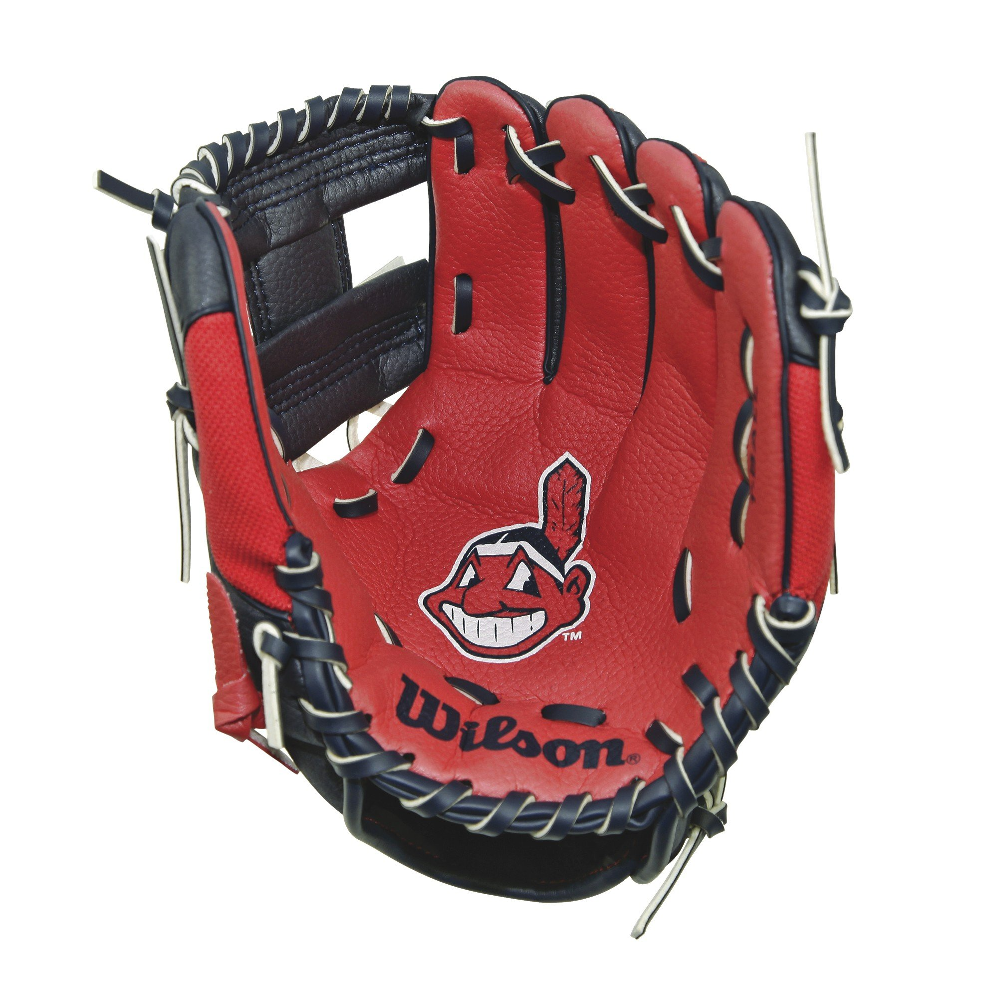 Wilson A200 10'' Cleveland Indians Glove Right Hand Throw, Navy/White/Red