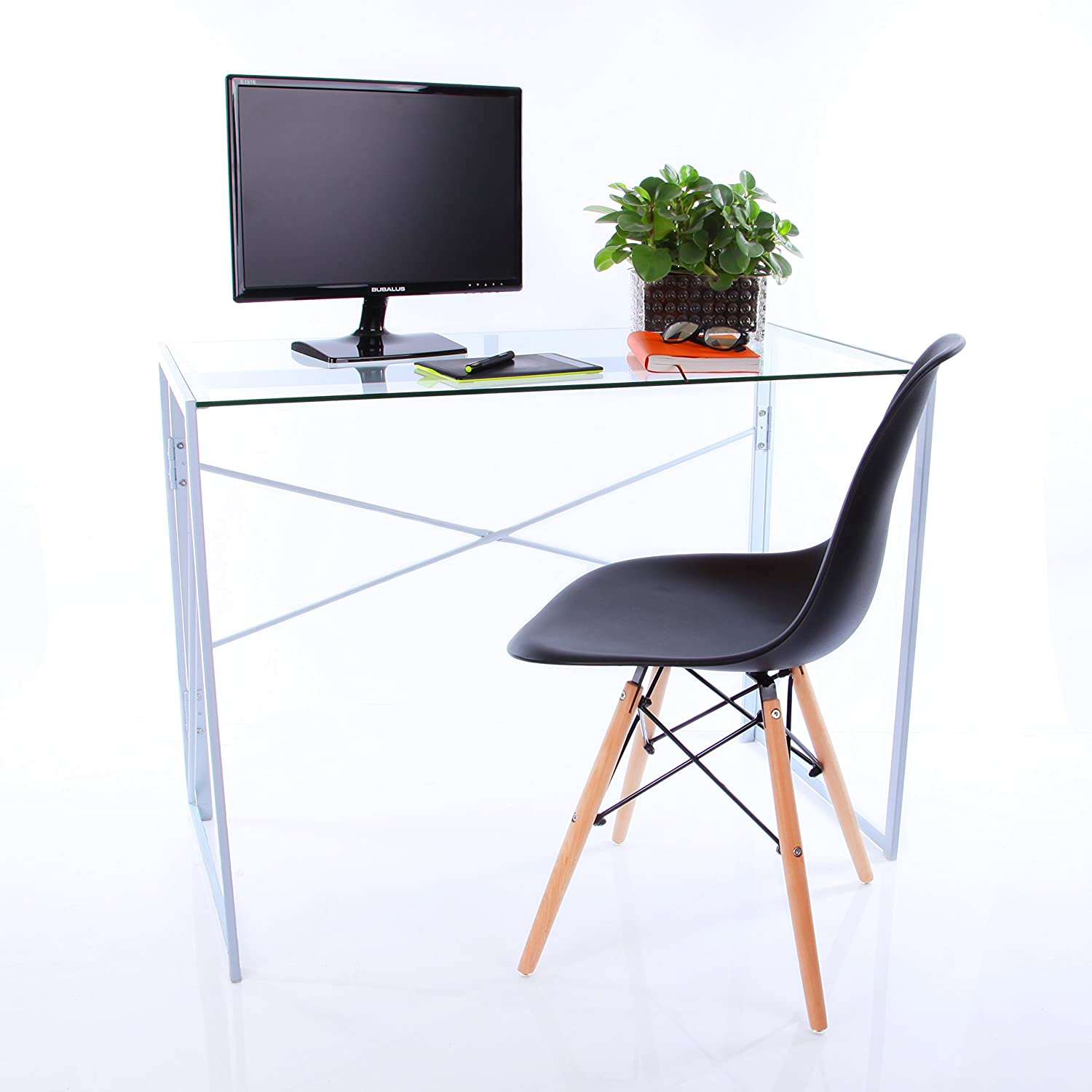 VECELO Folding Computer Office Desk Table with Tempered glass