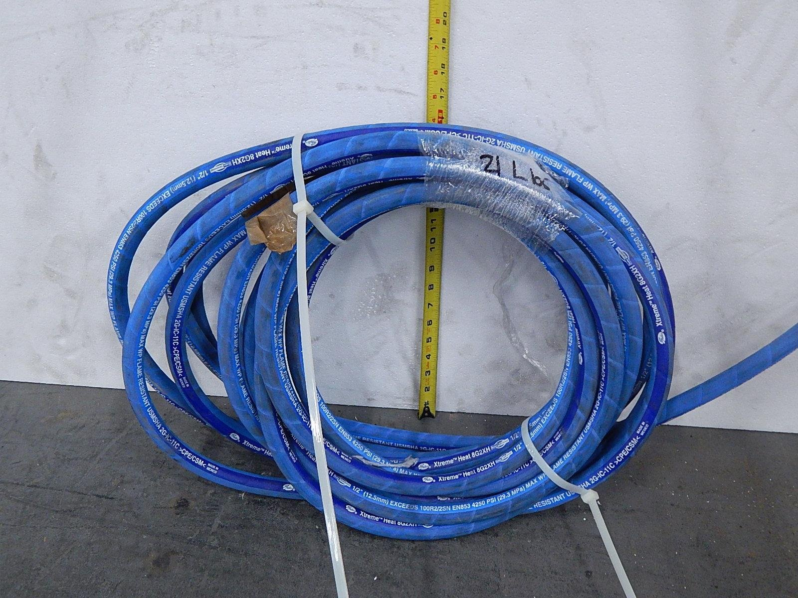 Gates 8G2XH, 100R2/2SN EN853, 2G-IC-11C 1/2 In 4250 Psi Xtreme Heat Flame Resistant Hydraulic Hose 25 Ft T103829