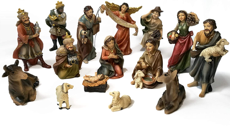 Faithful Treasure 15-Piece Nativity Set. Hand-Painted Christmas Nativity Scene (4
