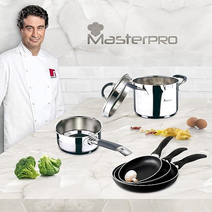 Masterpro - Batería de Cocina Set 6 pcs: Cazo Ø16 cm; Olla Recta Ø16 con Tapa; y Set 3 sartenes Ø16; Ø20; Ø24 cms, inducción