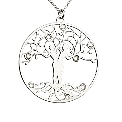 19e471d544f5 AKA Schmuck - Damen Halskette mit Anhänger Lebensbaum und Swarovski  Kristalle 925 Sterling Silber, Mod
