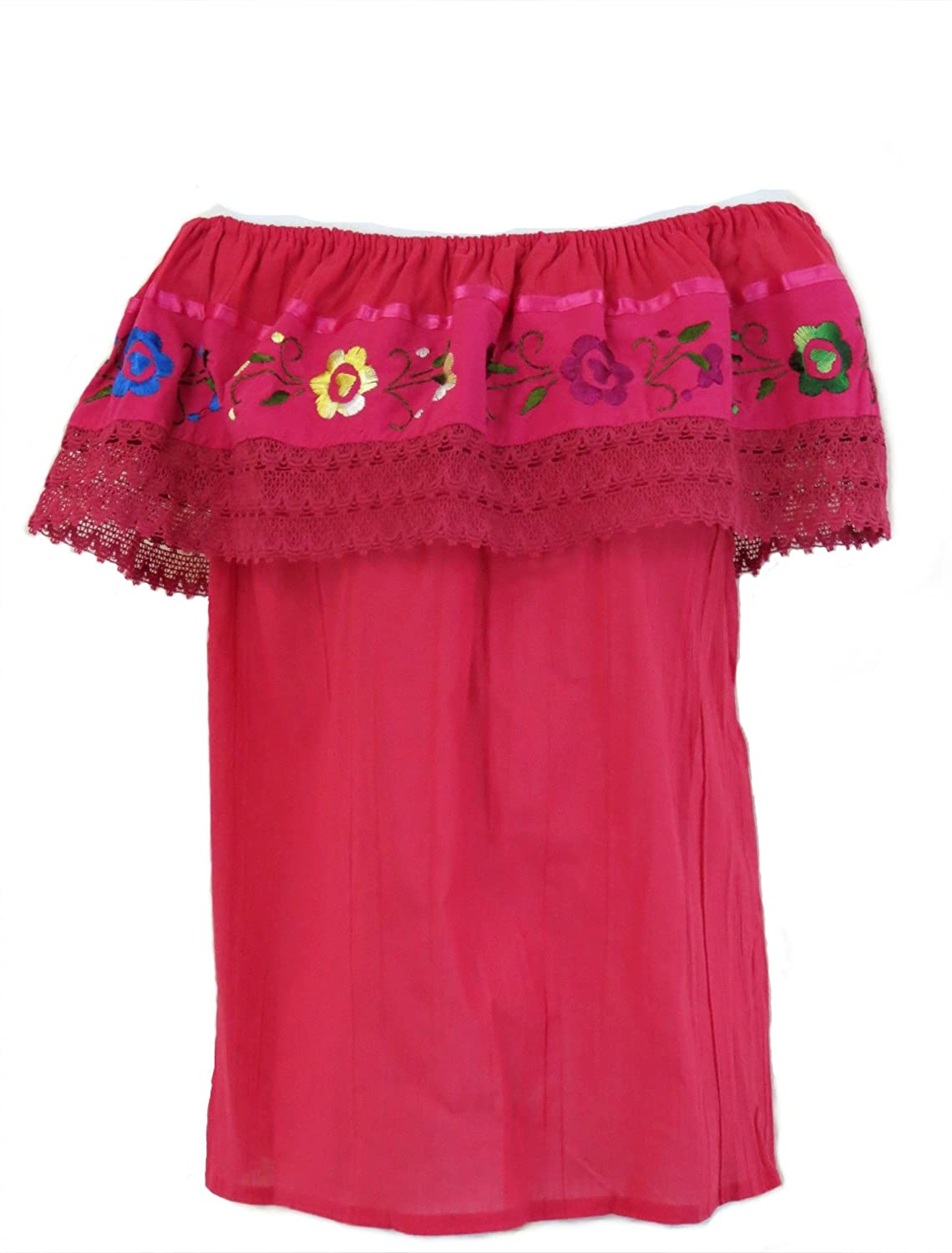 Women's Embroidered Crochet Off-Shoulder Magenta Mexican Top - DeluxeAdultCostumes.com