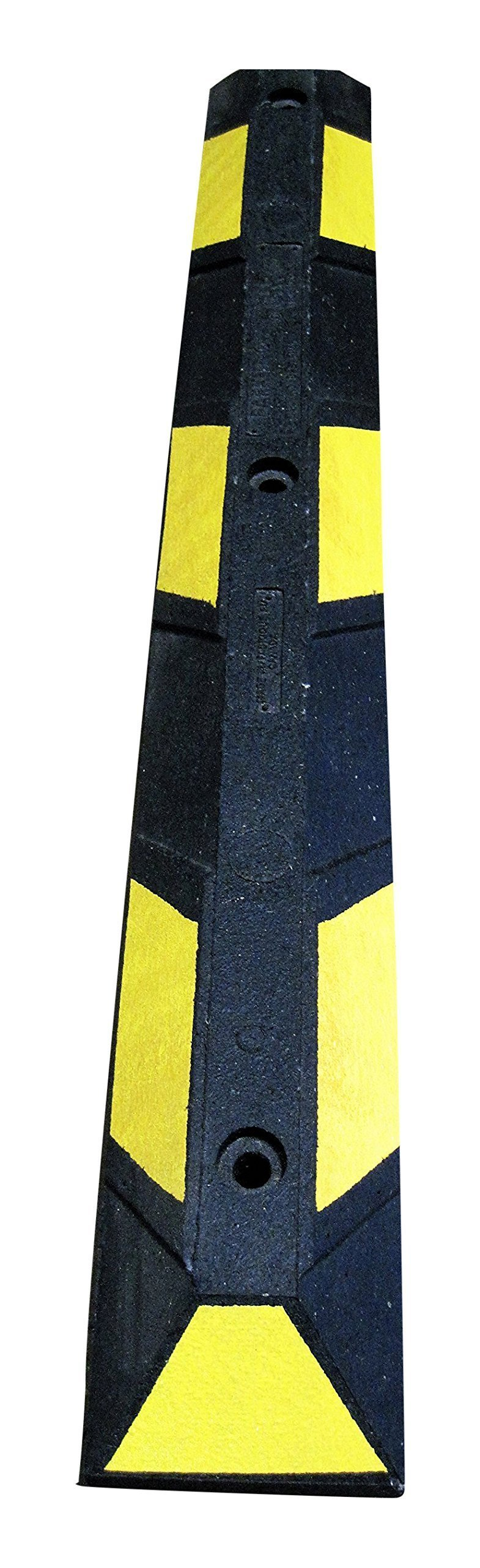 Parking Curb 36 inch Long Rubber Block Wheel Stop for Car, RV, Trailer, Garage, Driveway or Parking Lot (Black with Yellow Reflective Stripes)
