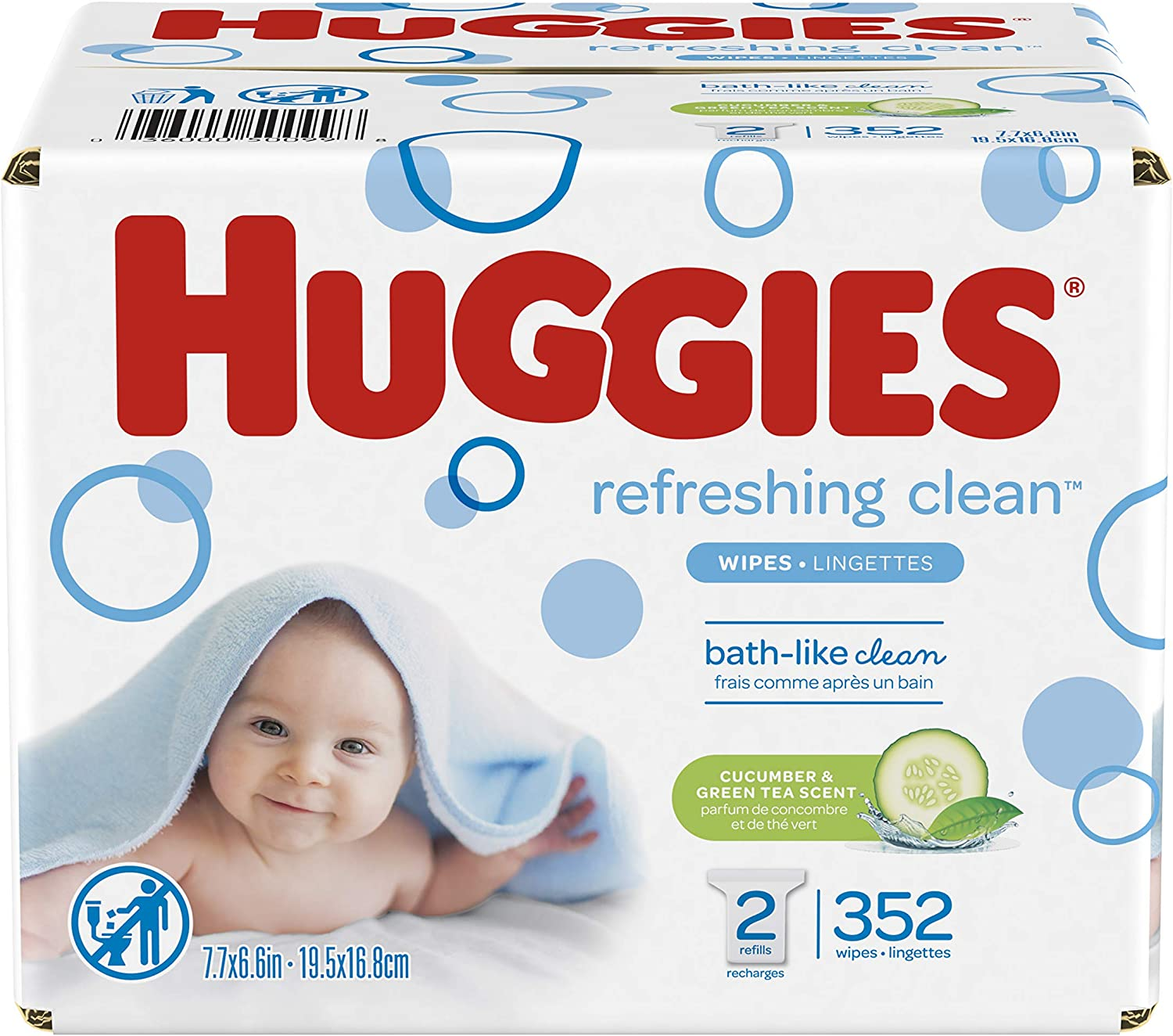 HUGGIES Refreshing Clean Scented Baby Wipes, Hypoallergenic, 2 Refill Packs (352 Total Wipes), Size 1