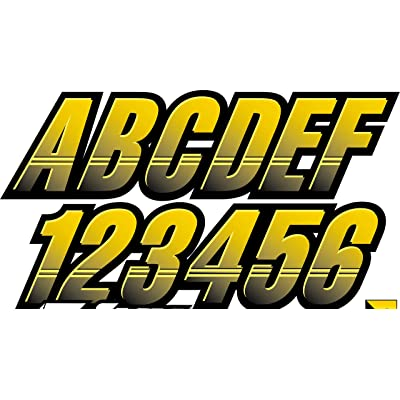 "Stiffie Techtron Yellow/Black 3"" Alpha-Numeric Registration Identification Numbers Stickers Decals for Boats & Personal Watercraft: Automotive [5Bkhe1009188]"