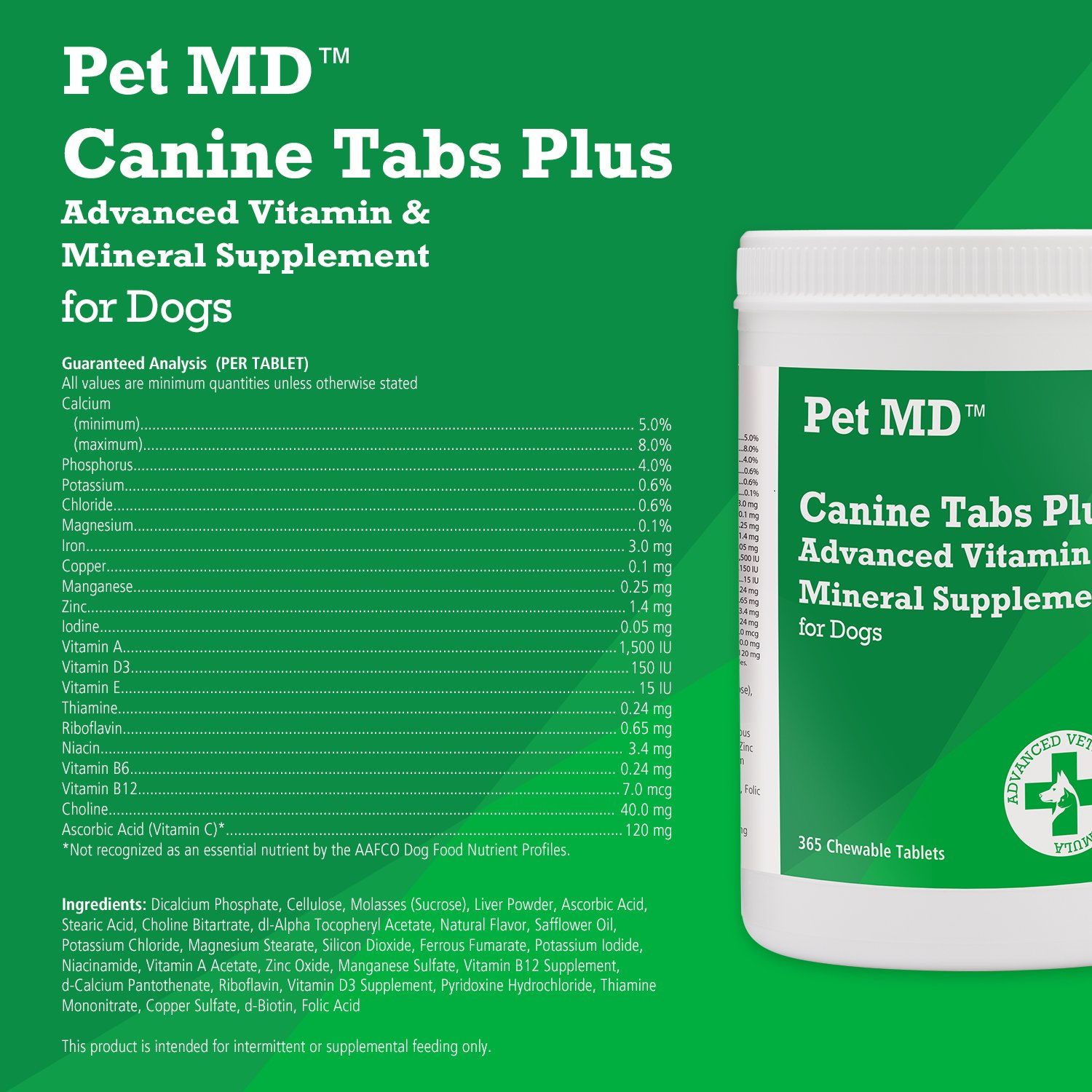 Pet MD - Canine Tabs Plus 365 Count - Advanced Multivitamins for Dogs - Natural Daily Vitamin and Mineral Nutritional Supplement - Liver Flavored Chewable Tablets by Pet MD (Image #3)