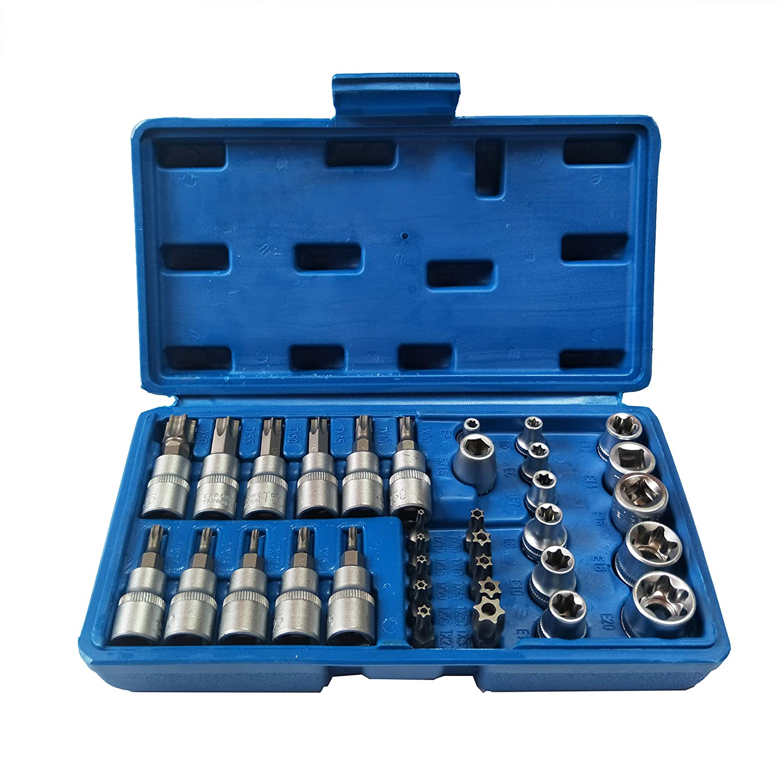 1//2-Inch Set of 8 Pieces Blue Spot Tools 01506 Impact Torx Sockets Black