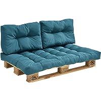 [en.casa] Set de 3 Cojines para sofá-palé - cojín de Asiento + Cojines de Respaldo Acolchados [Turquesa] para europalé In/Outdoor