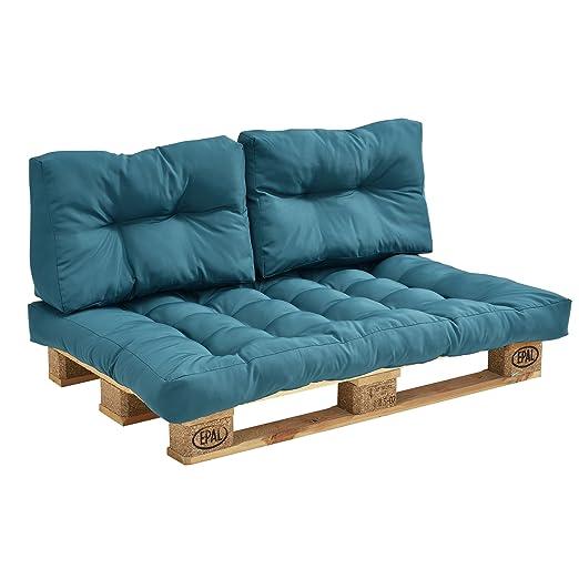 [en.casa]®] Set de 3 Cojines para sofá-palé - cojín de Asiento + Cojines de Respaldo Acolchados [Turquesa] para europalé In/Outdoor