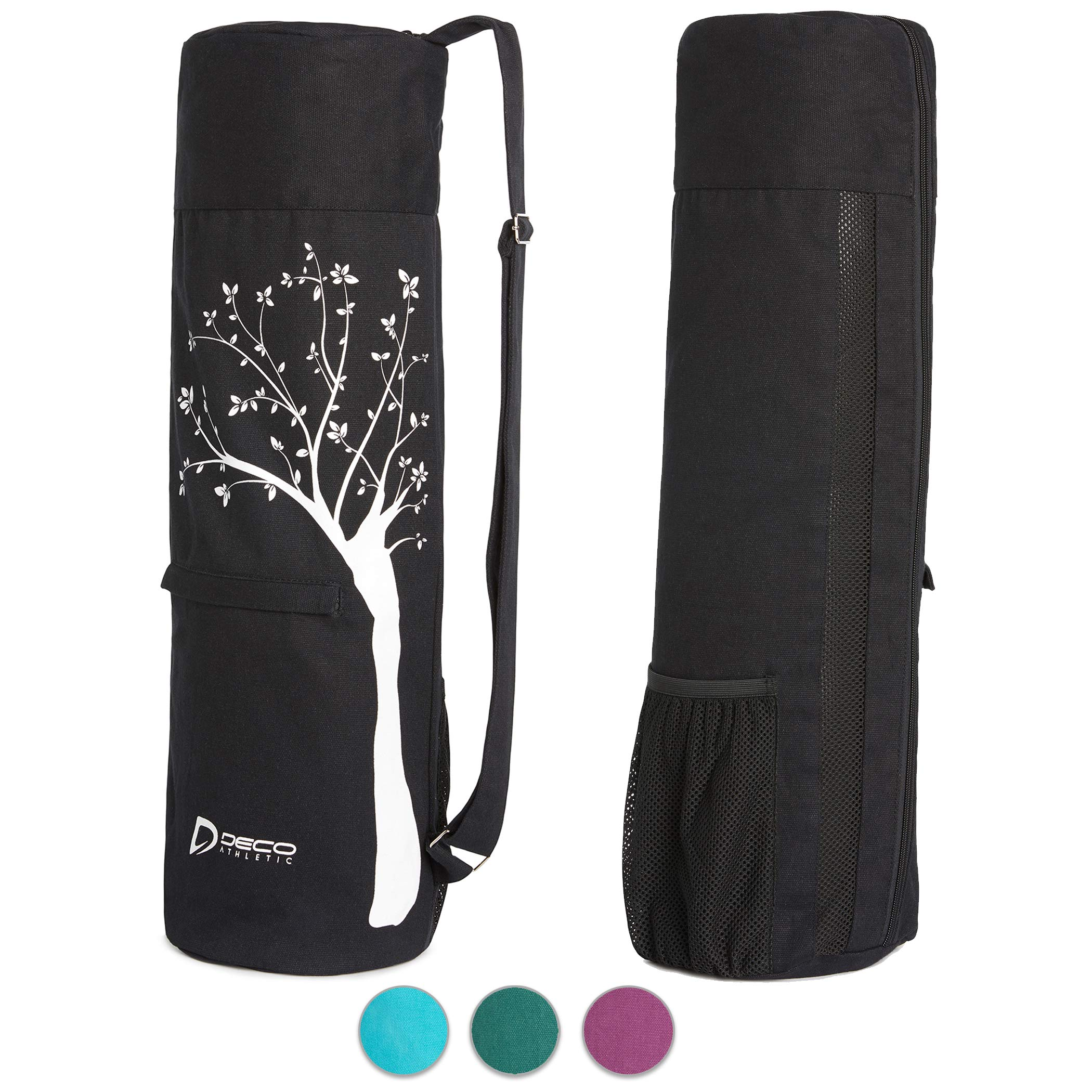 Deco Athletic Black Yoga Mat Bag, fits up to 25 inch mat, one Large Zipped Interior Pocket, one Large mesh Exterior Pocket, Room for Yoga Blanket and Yoga Towel