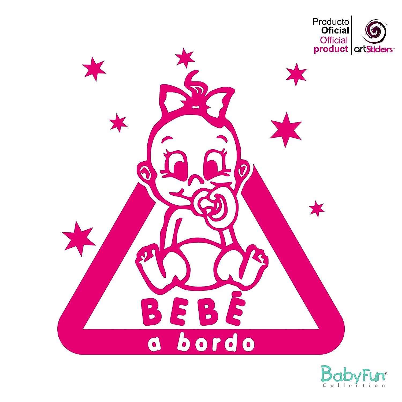 Artstickers autocollant bébé à bord, bEBA à bord étoiles sticker–Rose Fuchsia–1unité 14cm x 13cm babyfun collectión
