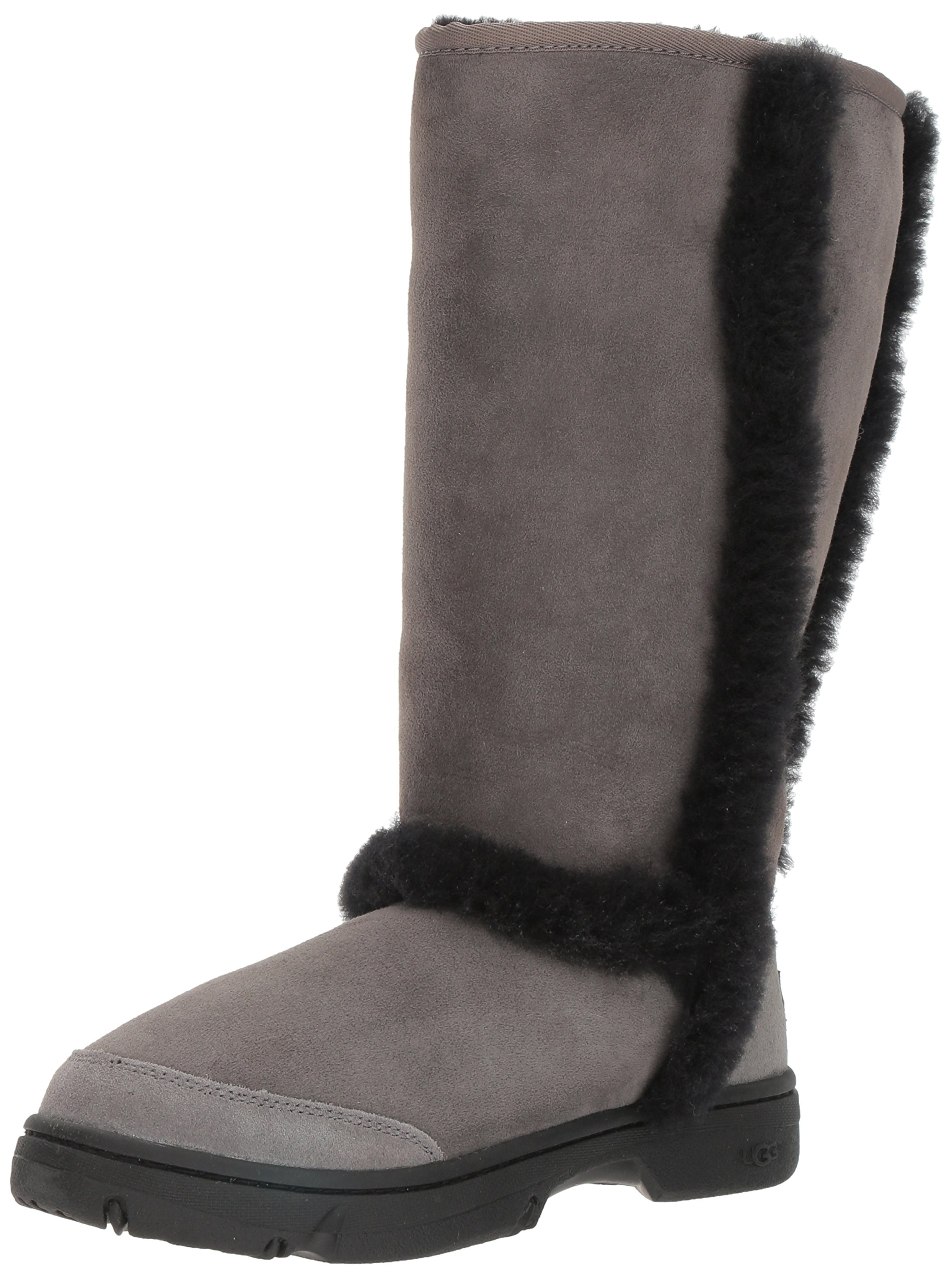 UGG Women's Sunburst Tall Fashion Sneaker, Grey/Black, 7 M US