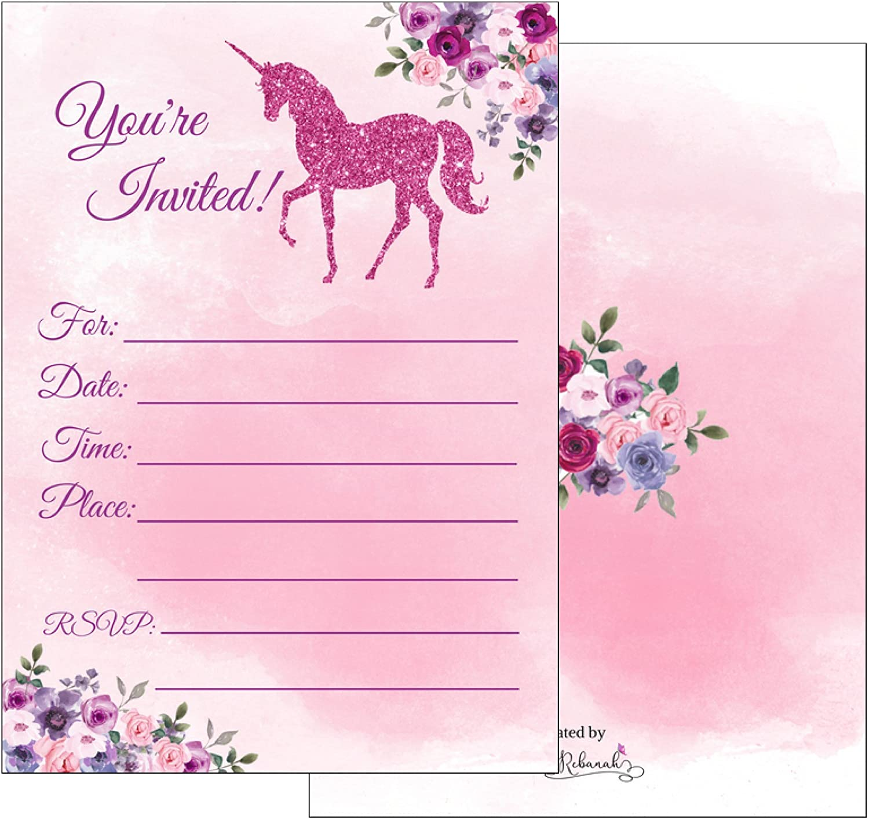 Unicorn Invitations Page Three