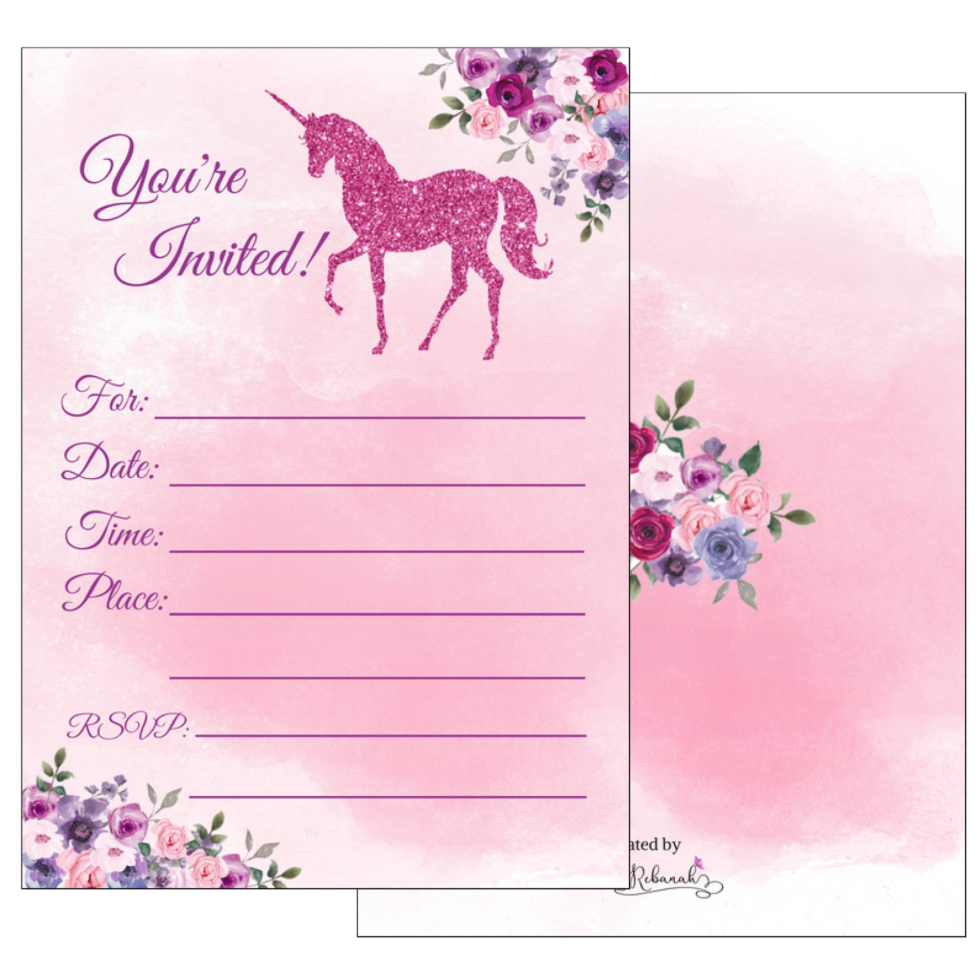 Magical Unicorn Invitations Birthday Party Supplies with Envelopes-Kids Birthday Party Invites for Girls- Fill in Style with Pink Faux Glitter- (25 Pack)