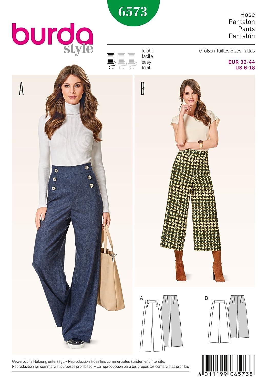 Burda B6573 - Cartamodello per pantaloni, dimensioni: 19 x 13 x 1 cm, colore: bianco