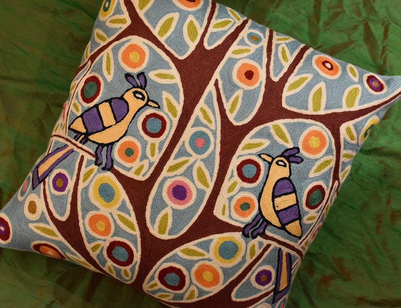 Folk Bird In Tree Karla Gerard Accent Pillow Cover Handembroidered Wool 18x18
