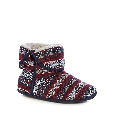 Debenhams Mantaray Red Fair Isle Knit Slipper Boots: Amazon.co.uk ...
