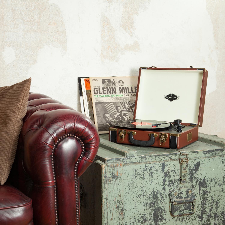 Auna Jerry Lee Leather Edition - Tocadiscos Vintage, Portátil, Maleta Estilo Retro fácil de Transportar, Altavoces Integrados, USB para ...