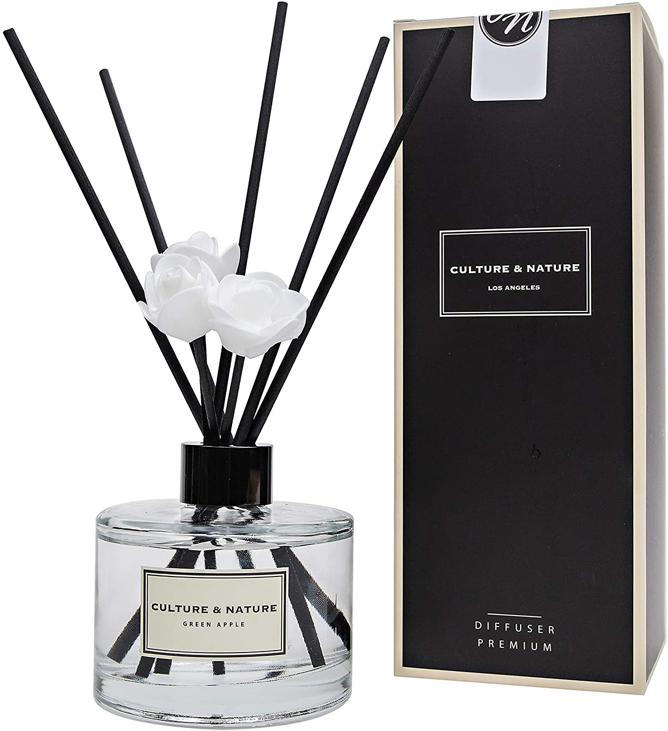 CULTURE & NATURE Reed Diffuser 6.7 oz ( 200ml ) Green Apple Scented Reed Diffuser Set