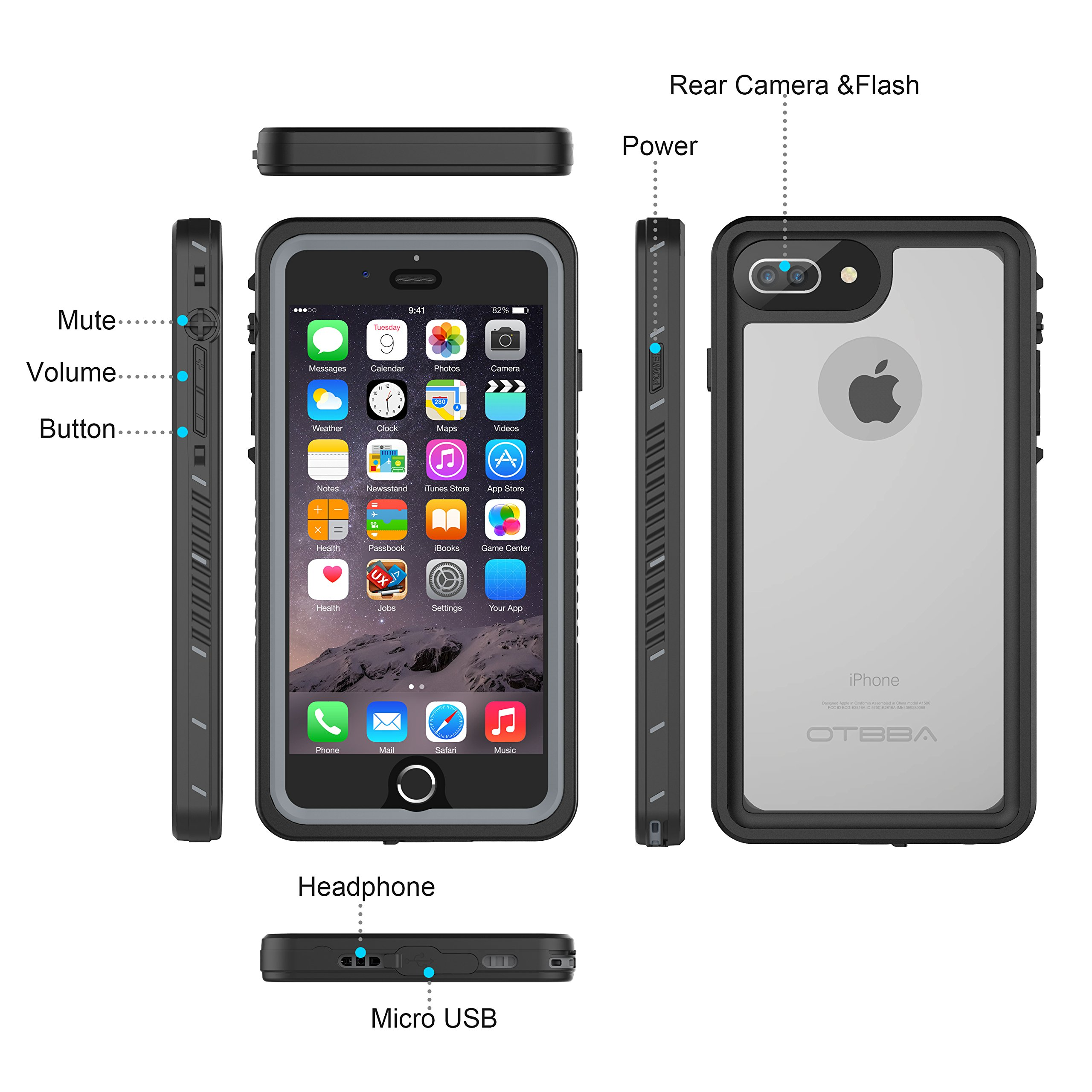 iPhone 7 Plus/8 Plus Waterproof Case, OTBBA Underwater Snowproof Dirtproof Shockproof IP68 Certified with Touch ID Full Sealed Cover Waterproof Case for iPhone 7 Plus/8 Plus-5.5in (Clear) by OTBBA (Image #4)