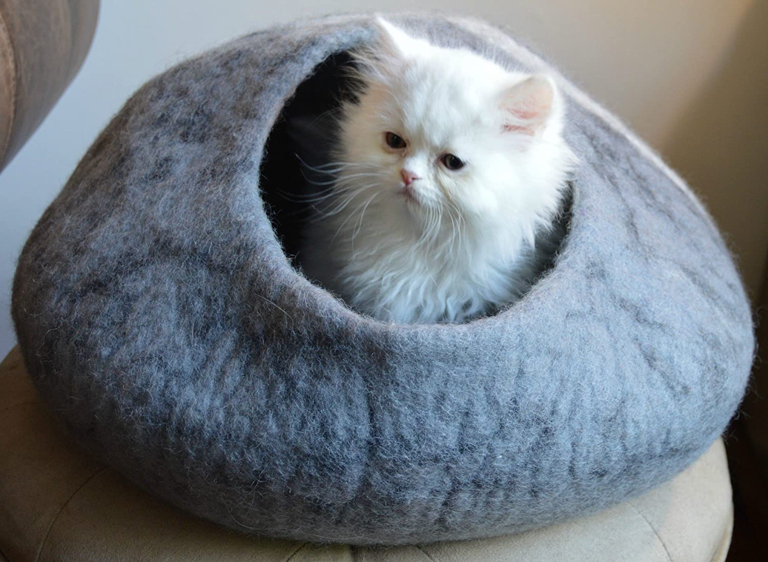 Amazon.com : Best Cat Cave Bed, Unique Gray Handmade Natural Felted ...