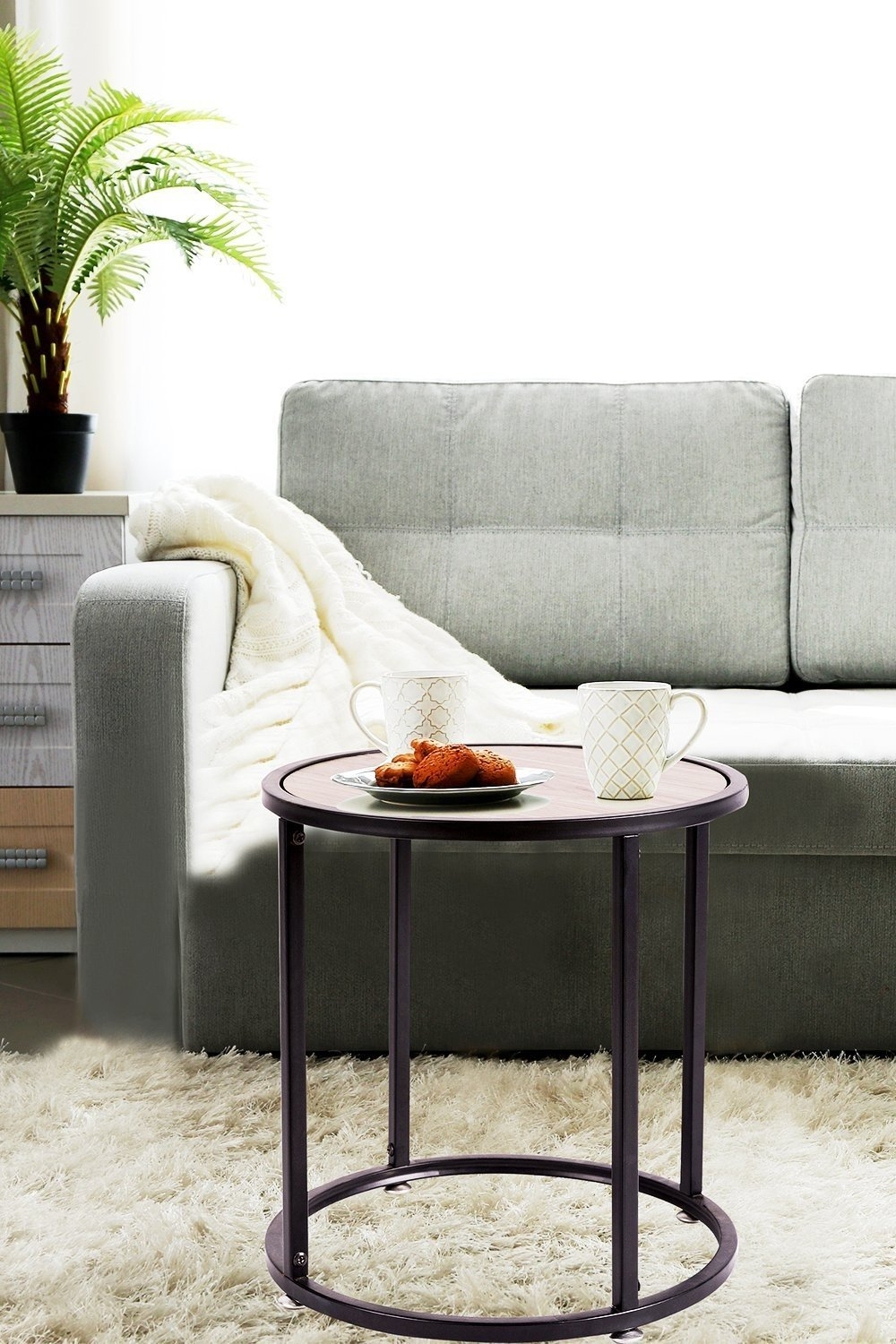 Indoor Multi-function Accent table Study Computer Desk Bedroom Living Room Modern Style End Table Sofa Side Table Coffee Table Wooden Round Coffee Table