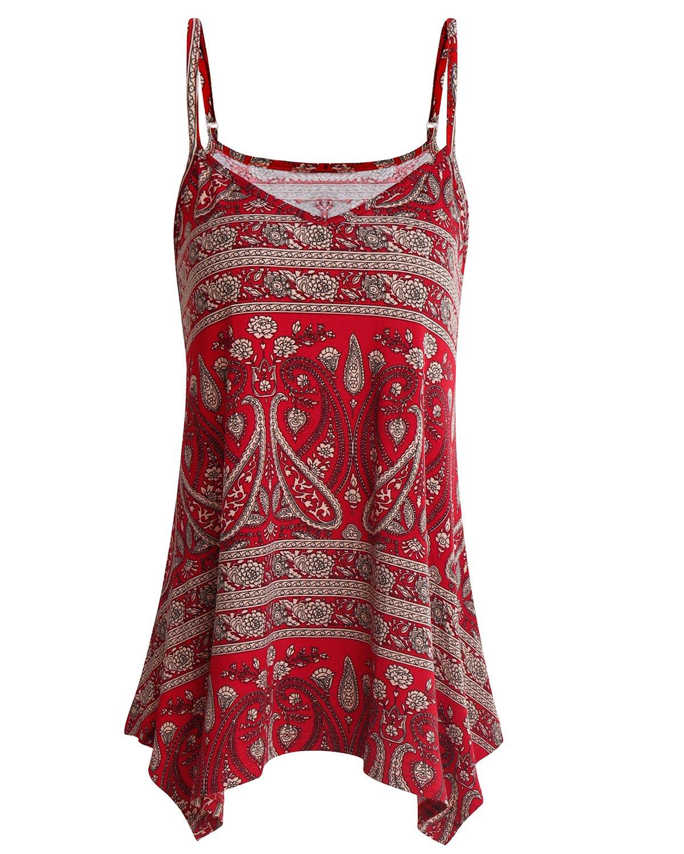 SOLERSUN Womens Summer Sleeveless V Neck Spaghetti Strap Printed Cami Swing Irregular Tops