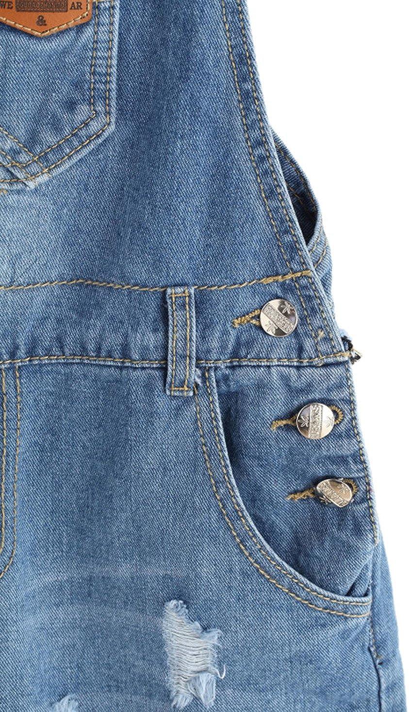 MAKEMECHIC Womens Ripped Distressed Denim Overall Shorts Romper