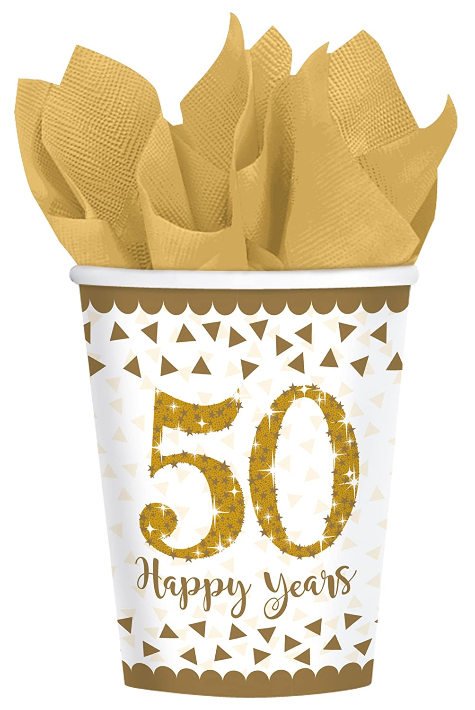 50/ en or Sparkling Gobelet en carton pour 50e anniversaire /Happy Years 8/Gobelets glitzernde mariage ou anniversaire dor////Party Set de gobelets