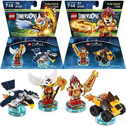 Amazon Com Lego Set Of 2 Dimensions Legends Of Chima Packs Laval The Lion Eris The Eagle Games Toys Toys Games